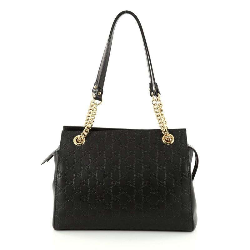 b31518ba615b Gucci Soft Signature Guccissima Medium Black Leather Shoulder Bag Best Price  For Replica